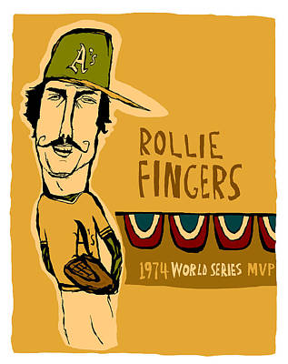 Baseball Painting - Rollie Fingers Oakland A's by Jay Perkins