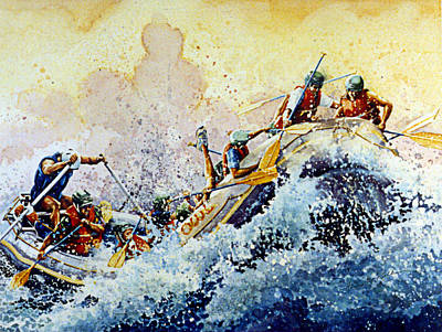Sports Paintings - Rollin Down The River by Hanne Lore Koehler