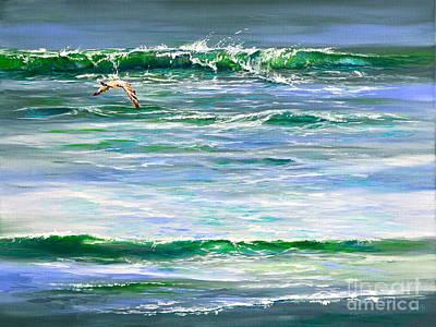 Ocean Painting - Rolling Green by AnnaJo Vahle