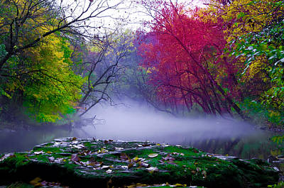 Rolling Mist On The Wissahickon Creek Print by Bill Cannon
