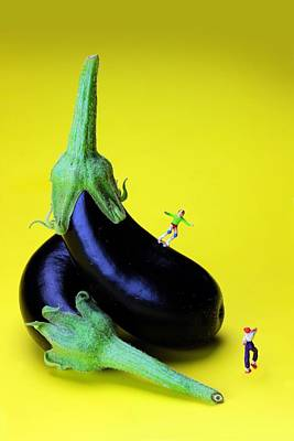 Photograph - Rolling On Eggplants Little People On Food by Paul Ge