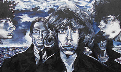 Mick Jagger Poster Painting - Rolling Stones Black And Blue  by Kevin J Cooper Artwork