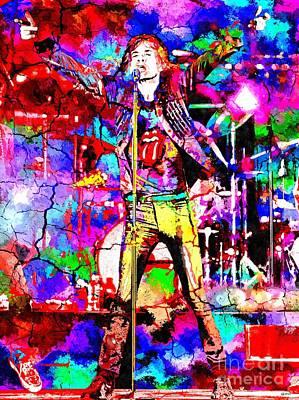 Mick Mixed Media - Rolling Stones Concert 2014 by Daniel Janda