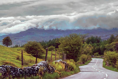 Art Print featuring the photograph Rolling Storm Clouds Down Cumbrian Hills by Menega Sabidussi