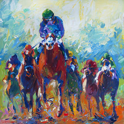 Kentucky Derby Painting - Rolling Thunder by Lisa Palombo