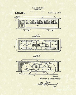 Drawing - Rolling Toy 1919 Patent Art by Prior Art Design