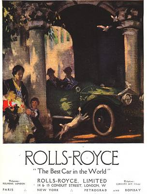 Nineteen-tens Drawing - Rolls-royce 1917 1910s Uk  Cars by The Advertising Archives