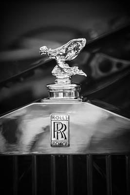 Photograph - Rolls-royce Hood Ornament - Emblem -1068bw by Jill Reger
