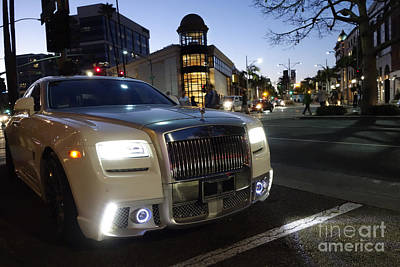 Rolls Royce Parked At The Bottom Of Rodeo Drive Art Print by Nina Prommer
