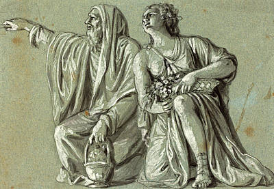 Wash Drawing - Roman 18th Century, Two Kneeling Figures With Offerings by Litz Collection