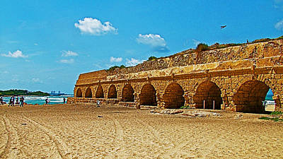 Aqueduct Digital Art - Roman Aqueduct From Mount Carmel 12 Km Away To Mediterranean Shore In Caesarea-israel  by Ruth Hager