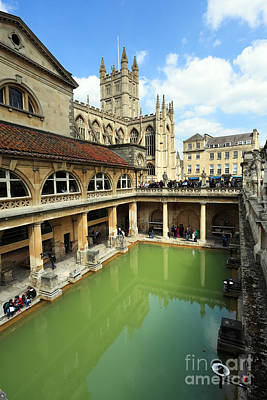 Roman Bath And Bath Abbey Print by Paul Cowan