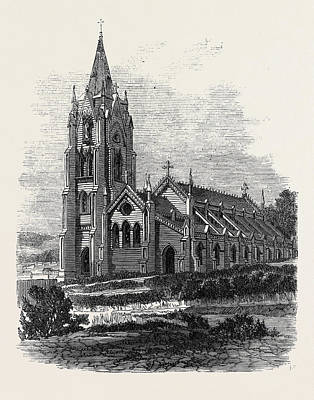 New Zealand Drawing - Roman Catholic Cathedral Wellington New Zealand 1869 by New Zealand School