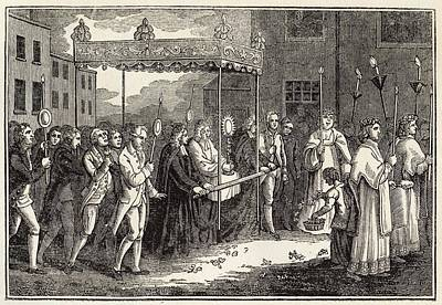 Communion Drawing - Roman Catholic Procession Of  The Host by Mary Evans Picture Library