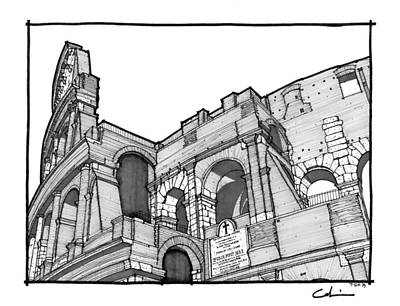 Drawing - Roman Colosseum by Calvin Durham