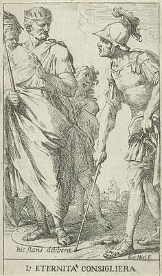 Roman Consul Popilius Laenas Draws A Circle In The Sand Art Print by Jan Miel