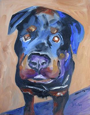 Dog Caricature Painting - Roman by Donna Tuten