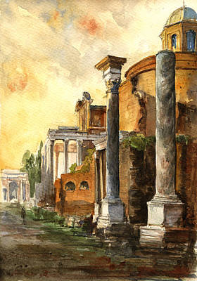 Temple Wall Art - Painting - Roman Forum by Juan  Bosco