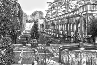 Photograph - Roman Gardens In The Fall - Bw by Lou Ford