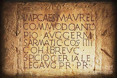 Roman Inscription Art Print by Heiko Koehrer-Wagner
