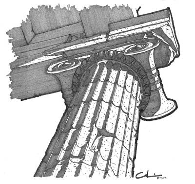 Drawing - Roman Ionic Column Capital by Calvin Durham
