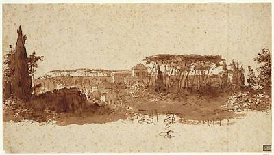 Sepia Ink Drawing - Roman Landscape by Claude Lorrain
