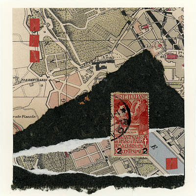 Travel Mixed Media - Roman Map Collage by Carol Leigh