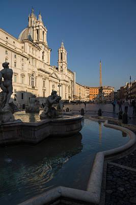 Photograph - Roman Morning - Shadow And Light On Piazza Navona Rome Italy by Georgia Mizuleva