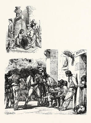 Reality Drawing - Roman Peasants The Ideal Upper Image Roman Peasants Playing by English School