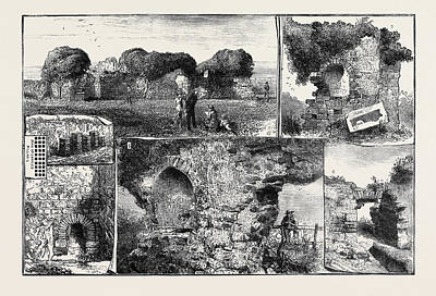 Overhang Drawing - Roman Remains At Walls Castle by English School