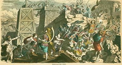 Roman Soldiers Storming A City Art Print
