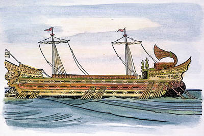 Painting - Roman Trireme by Granger