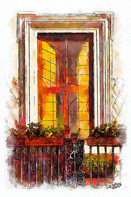 Balcony Painting - Roman Windows 2 by Greg Collins