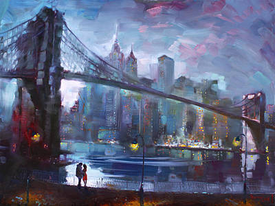 Bridge Painting - Romance By East River II by Ylli Haruni