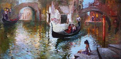 Venice Wall Art - Painting - Romance In Venice 2013 by Ylli Haruni
