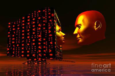 Networking Digital Art - Romance Over The Internet Via Computer by Mark Stevenson