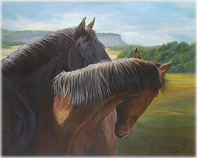 Black Stallion Painting - Romance by Renee Forth-Fukumoto