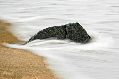 Surf Caresses A Lonely Stone Art Print