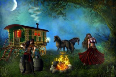 Gypsy Digital Art - Romani Gypsy by Suzanne Amberson