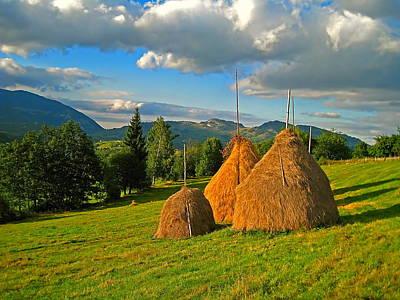 Transylvania Digital Art - Romanian Haystacks by Harold Bonacquist