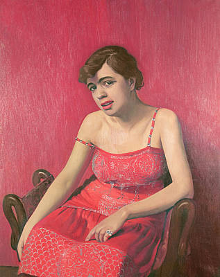 Diamond Ring Photograph - Romanian Woman In A Red Dress, 1925 Oil On Canvas by Felix Edouard Vallotton