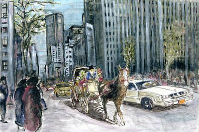 Painting - New York 5th Avenue Ride - Fine Art Painting by Peter Potter