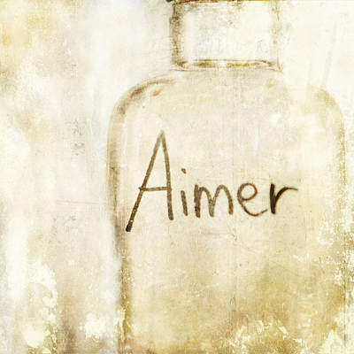 Photograph - Romantic Aimer Love Glass Bottle In Yellow by Angela Bonilla