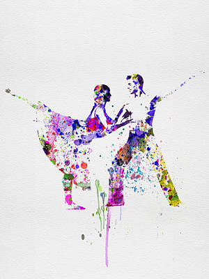 Girls Mixed Media - Romantic Ballet Watercolor 2 by Naxart Studio