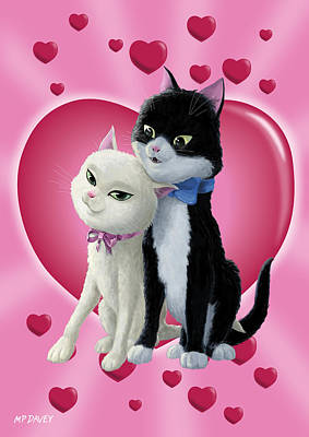 Digital Art - Romantic Cartoon Cats On Valentine Heart  by Martin Davey
