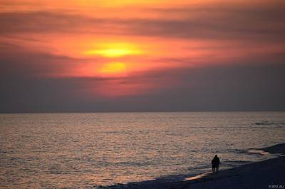 Photograph - Romantic Couple Silhouette On Navarre Beach At Sunset by Jeff at JSJ Photography