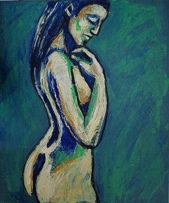 Semi-abstract Painting - Romantic Dreamer - Female Nude by Carmen Tyrrell