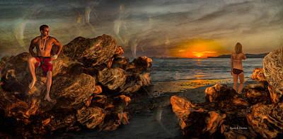 Ocean Sunset Mixed Media - Romantic Dreams by Angela Stanton