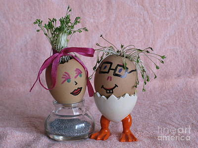 Photograph - Romantic Easter Couple On Pink. Eggmen Or Egg With Hair Series by Ausra Huntington nee Paulauskaite