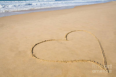Ocean Photograph - Romantic Heart Drawn In The Smooth Beach Sand by Jose Elias - Sofia Pereira